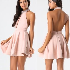 BEBE Embellished Halter Backless Dress